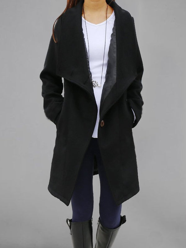 Turn-Down Collar Solid Buttoned Casual Outerwear