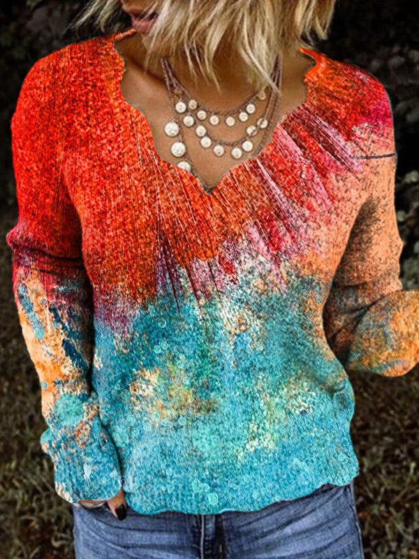 Red-Blue Ombre/tie-Dye Cotton-Blend Long Sleeve Shirts & Tops