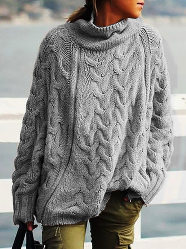 Turtleneck Shift Woven Long Sleeve Sweater