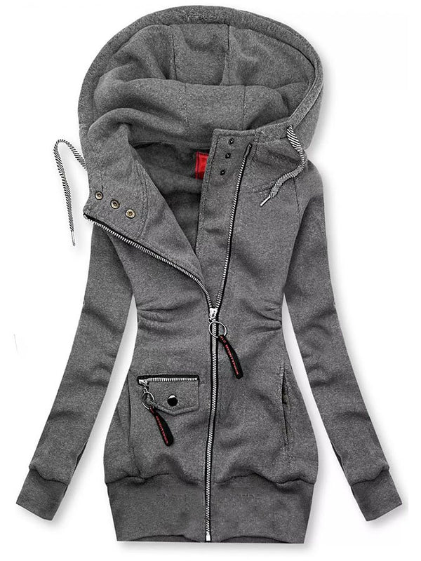 Hoodie Long Sleeve Shift Pockets Hooded Sweat Jacket