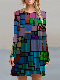 Multicolor Casual Crew Neck Printed A-Line Dresses