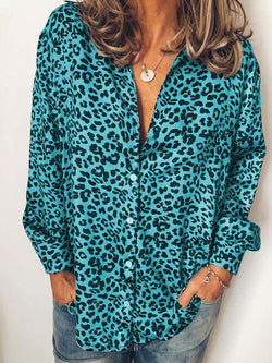 Casual Long Sleeve Leopard Print Shirts & Tops