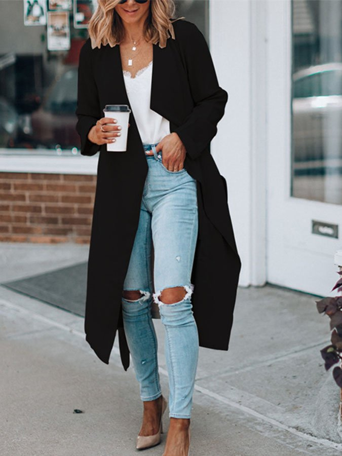Casual Solid Long Sleeve Outerwear