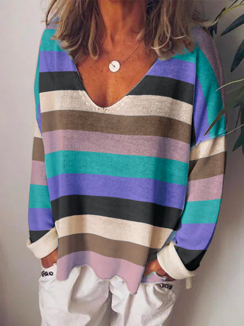 Color-Block Long Sleeve Shirts & Tops