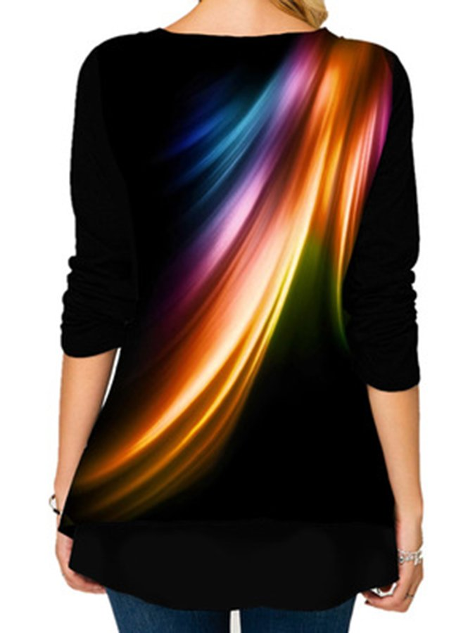 Women's autumn Pullover long sleeve round neck loose bottoming shirt