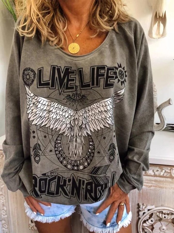 Printed Casual Shift Animal Sweatshirt