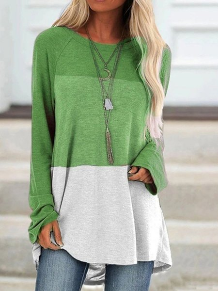 Shift Long Sleeve Casual Color-Block Shirts & Tops