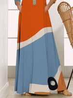 Color-block Long Sleeve Crew Neck Dress