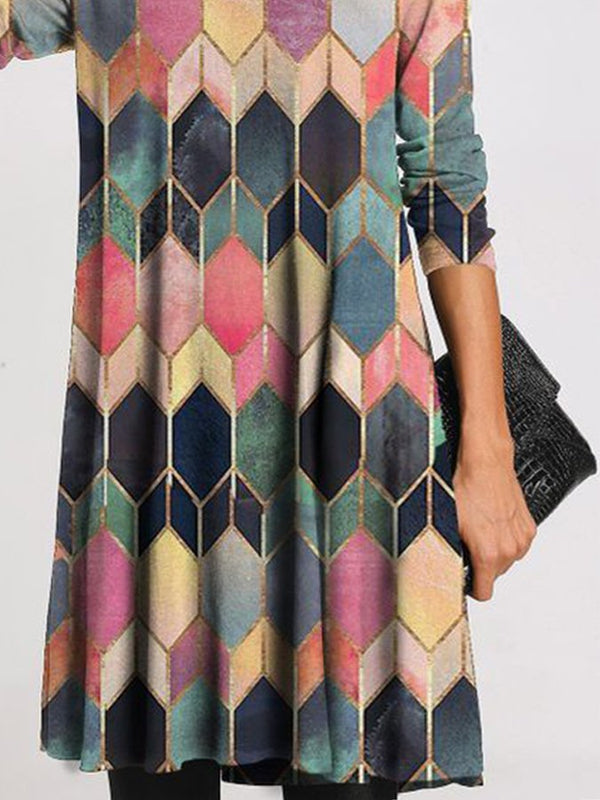 Casual Turtleneck Geometric Tunic Shift Dress