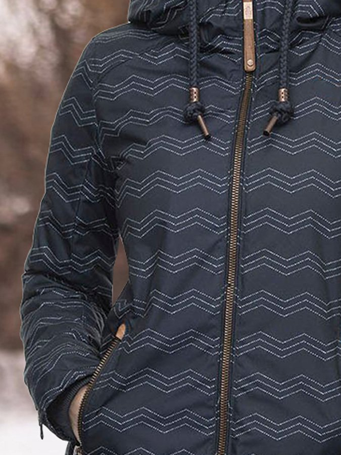 Black Long Sleeve Hoodie Stripes Printed Outerwear