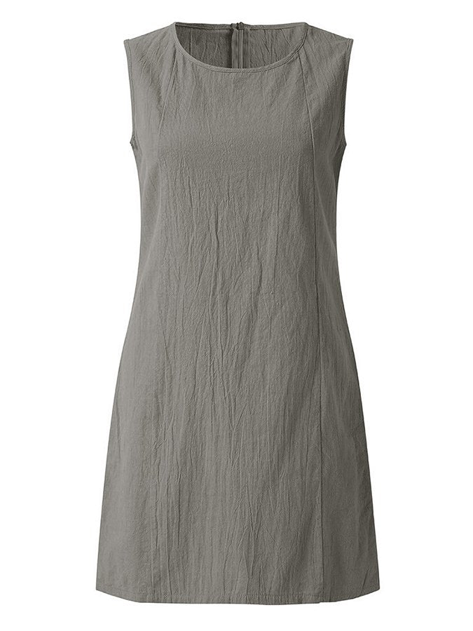 Solid Crew Neck Sleeveless Casual Dresses