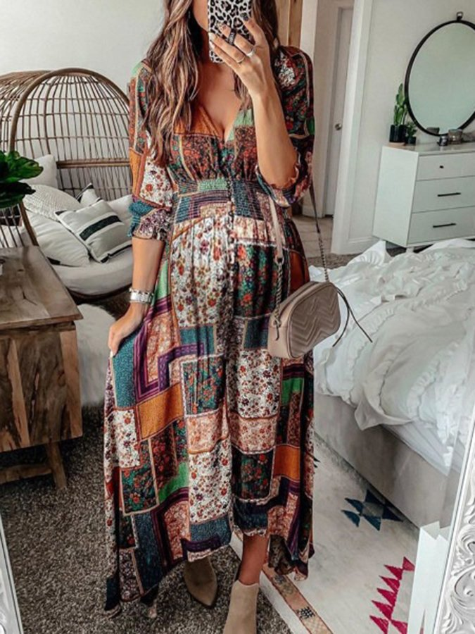 As Picture 3/4 Sleeve Tribal V Neck Dresses