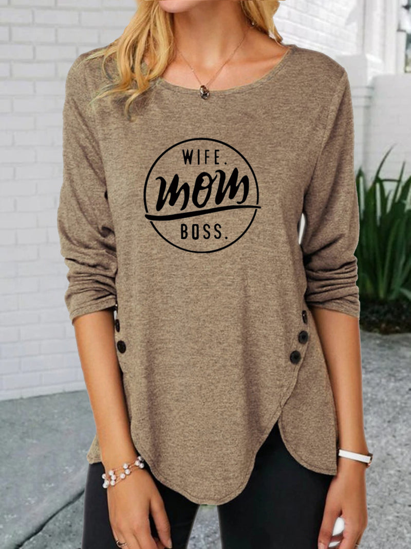 Casual Long Sleeve Round Neck Plus Size Tops