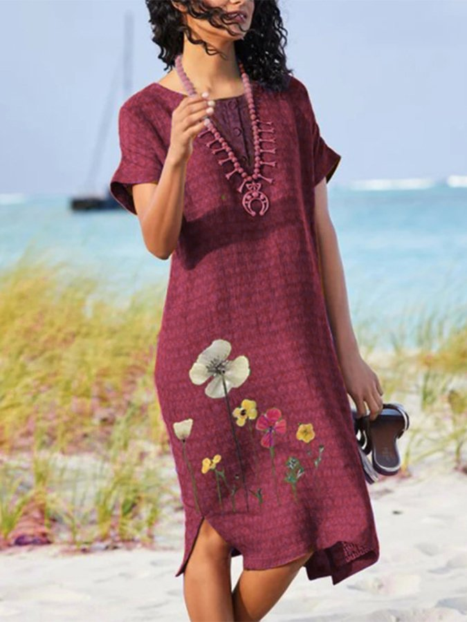 Floral-Print Crew Neck Short Sleeve Dresses