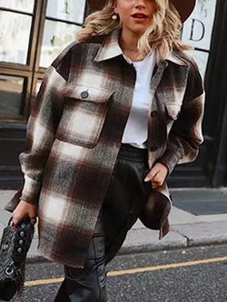 Retro Plaid Casual Long-sleeved Casual Jacket