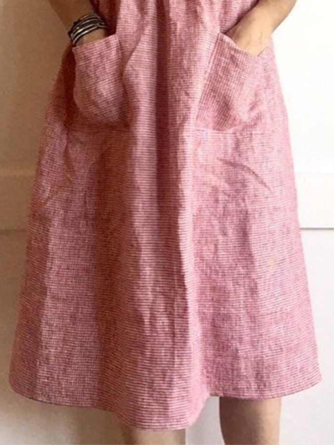 Pink Vintage Short Sleeve Linen V Neck Dresses