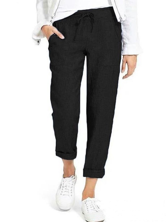 Plus Size Gathered Casual Pants