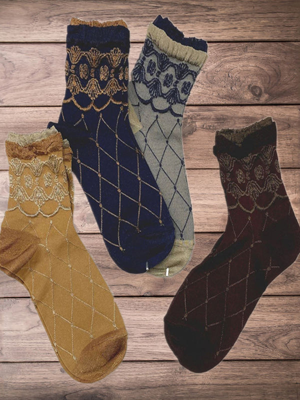 Multicolor Vintage Geometric Rhombus Pattern Women's Casual Socks