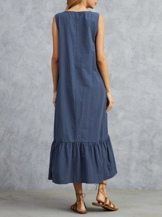 Sleeveless Casual Shift Solid Dresses