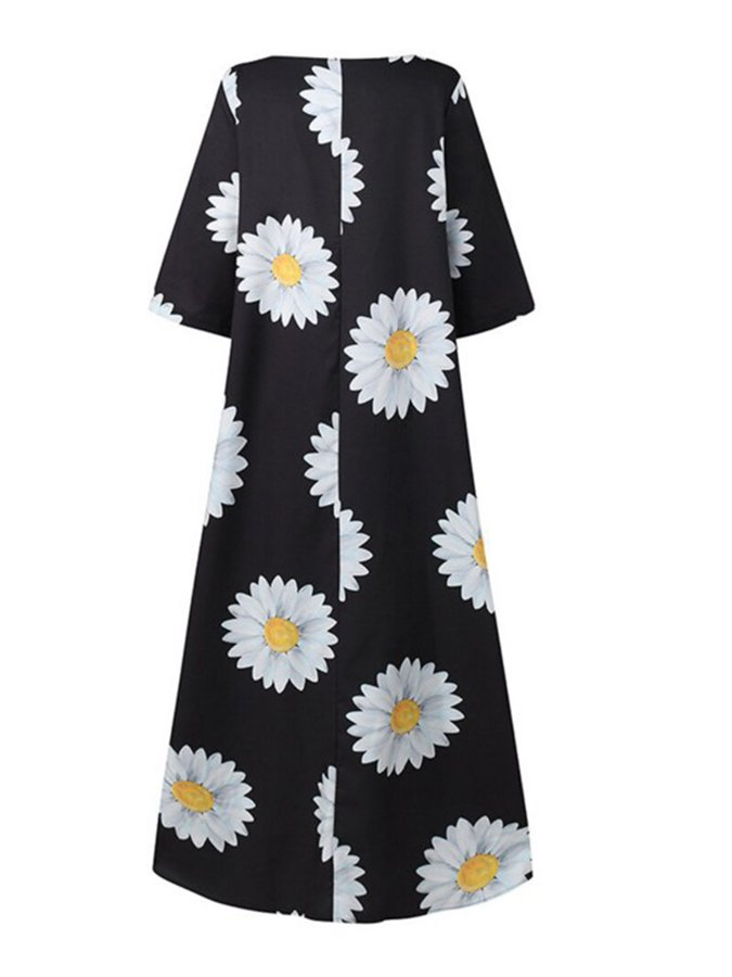 Printed Floral Long Sleeve A-Line Dresses