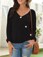 V Neck Long Sleeve Cotton Shirts & Tops