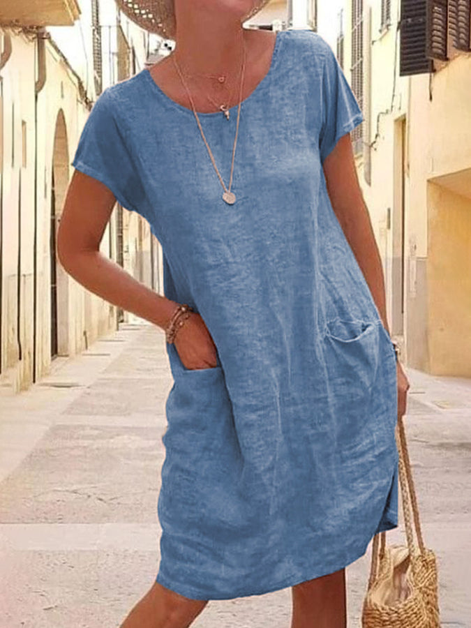 Short Sleeve Casual Pockets V Neck Dresses