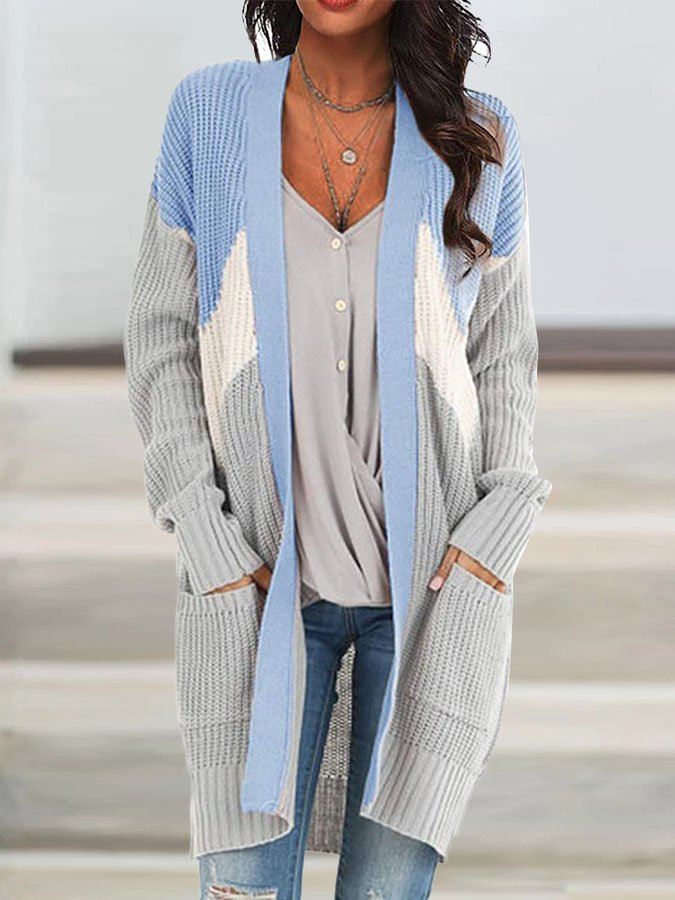 Patchwork Long Sleeve Holiday Sweater Cardigan