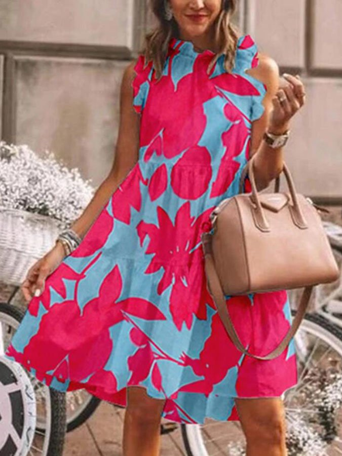 Red-Blue Short Sleeve Swing Printed Holiday Dresses