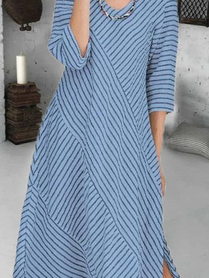 Blue Crew Neck Half Sleeve Stripes Printed Dresses