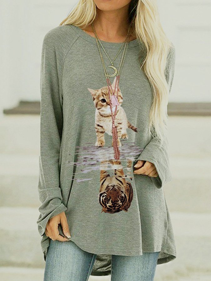 Holiday Long Sleeve Animal Printed Shirts & Tops