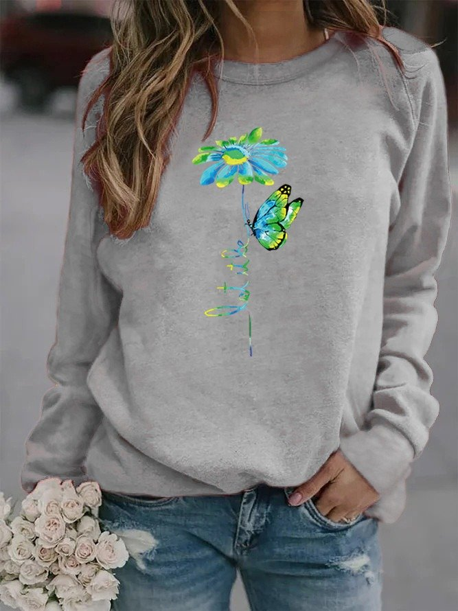 Plus Size Casual Vintage Long Sleeve Sweatshirt