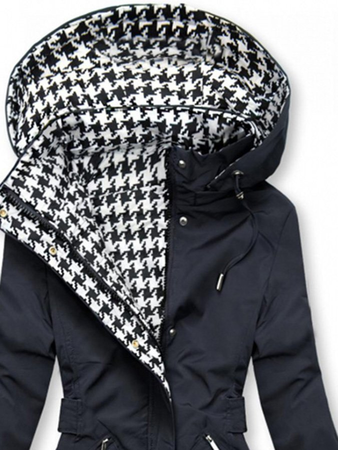 Black Hoodie Casual Shift Checkered/plaid Outerwear