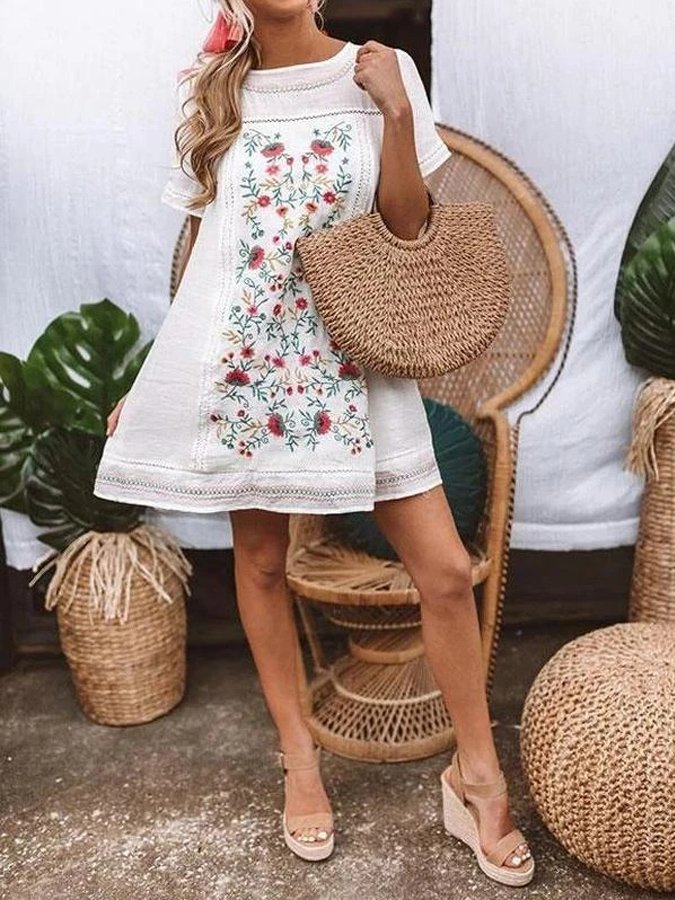 White Floral Printed Holiday Dresses