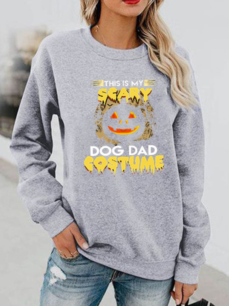 Halloween Printed  Holiday Crew Neck Sweatshirt
