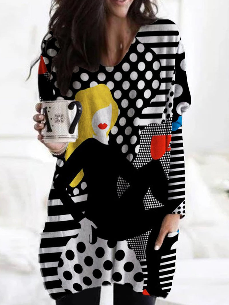 Black-White Abstract Long Sleeve Shift Shirts & Tops
