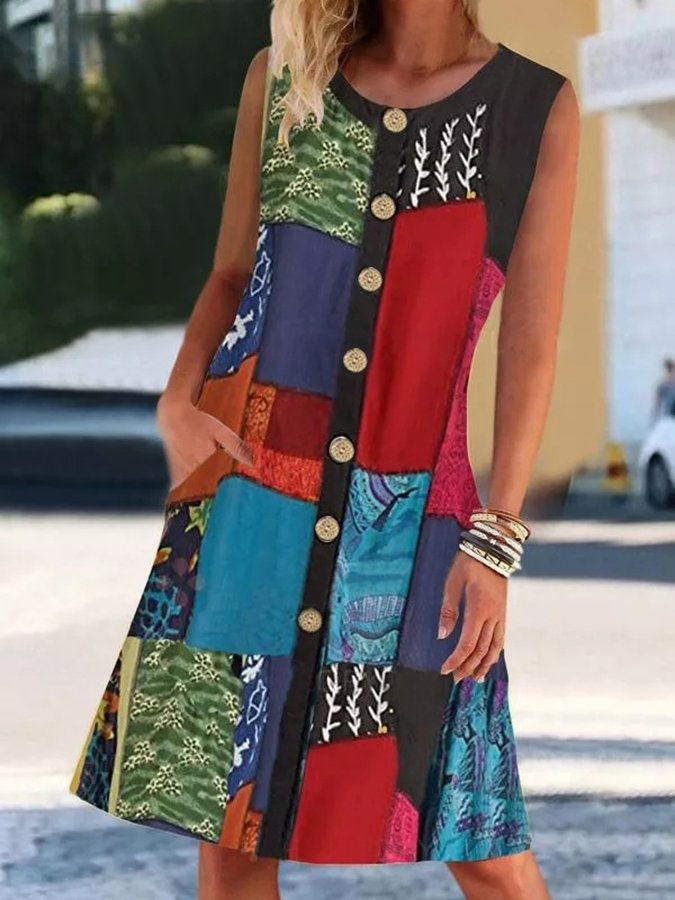Crew Neck Tribal Sleeveless Paneled Dresses