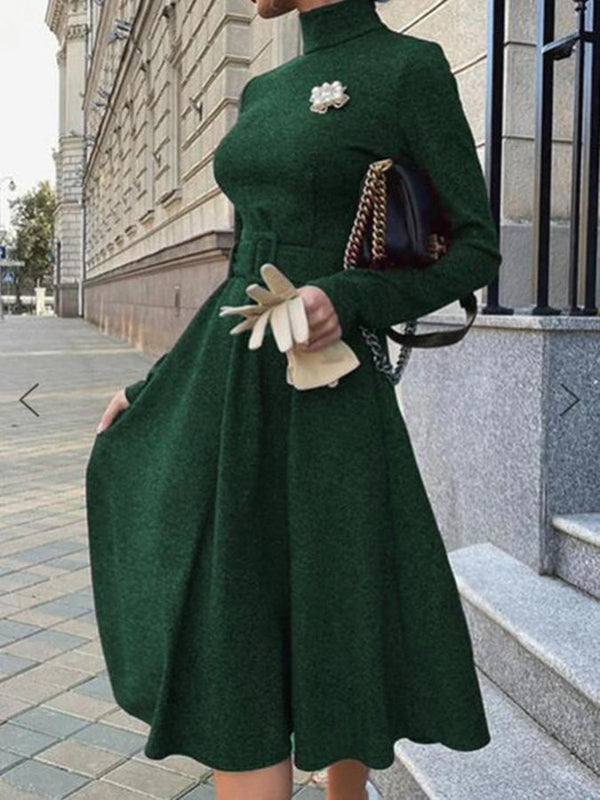 Casual Long Sleeve Shawl Collar Swing Dresses