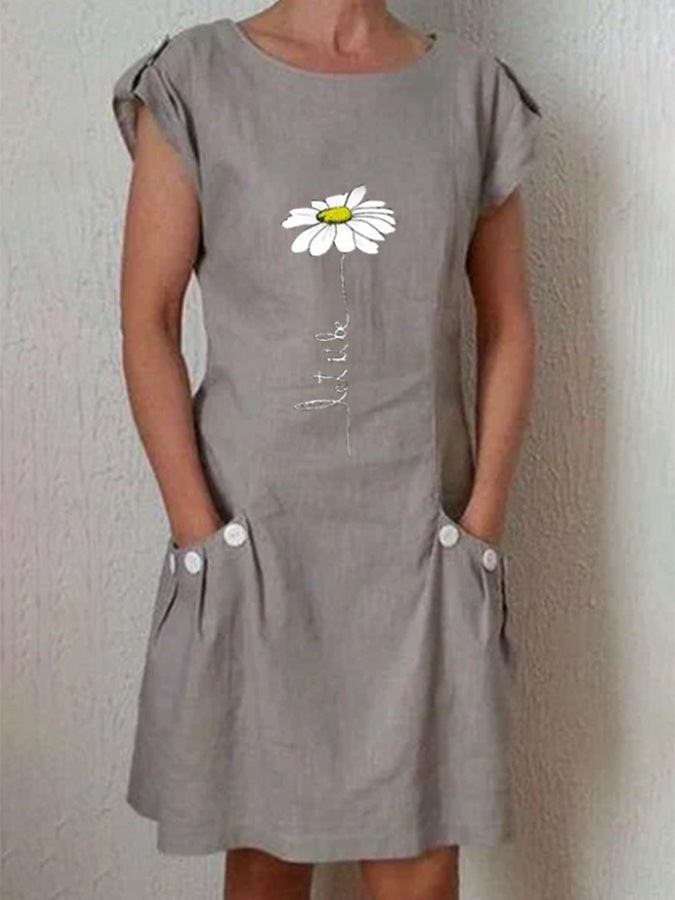 Gray Short Sleeve Floral Dresses