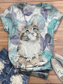 Cute Cat Printed Round Neck Short Sleeve Shirts & Tops