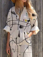 Printed Long Sleeve V Neck Abstract Dress