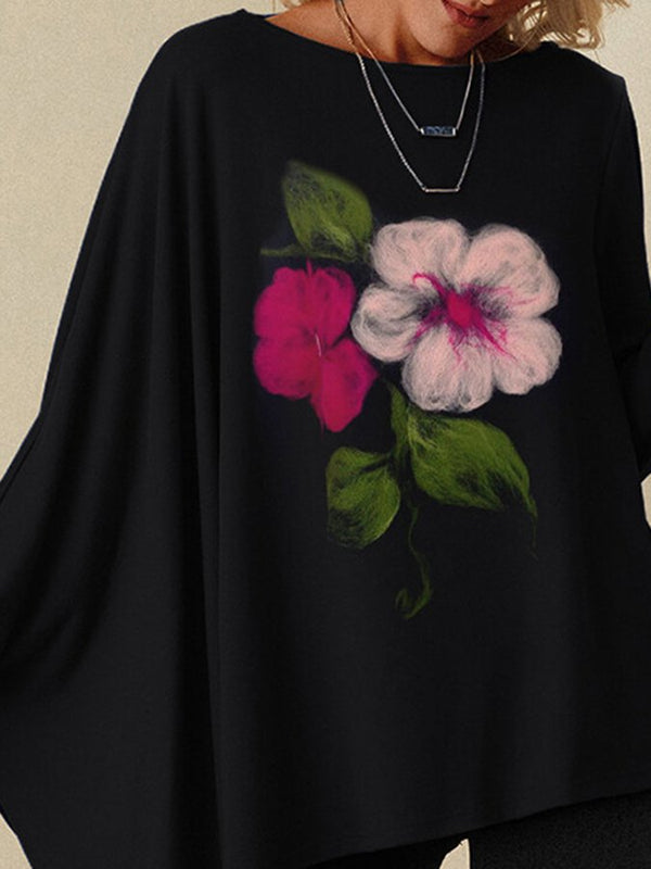 Floral Printed Round-neck Long Sleeve Loose Blouse
