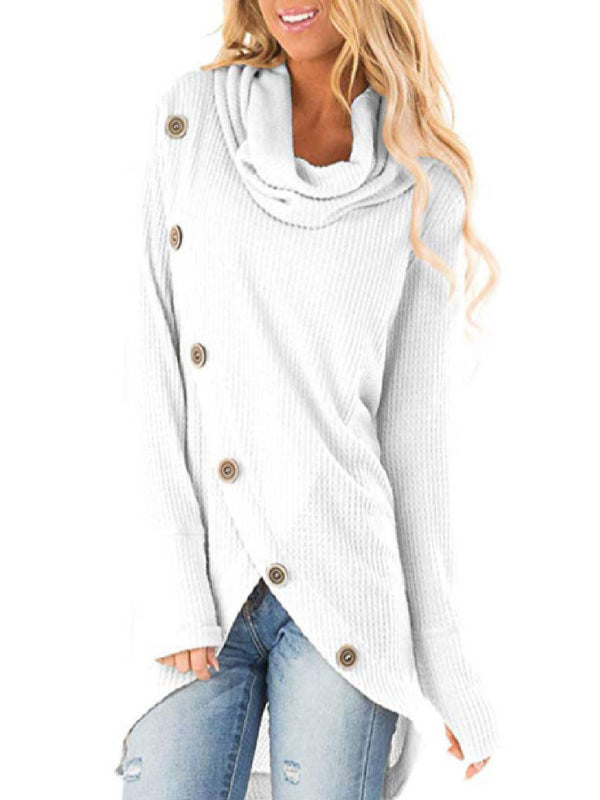 Long Sleeve Casual Irregular Cowl Neck Sweater