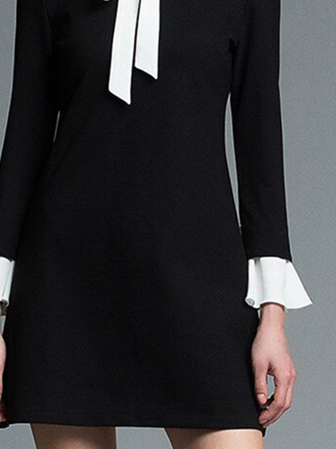 Black Solid Long Sleeve Casual Dresses