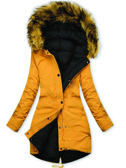 Yellow Casual Faux Fur Sheath Hoodie Outerwear
