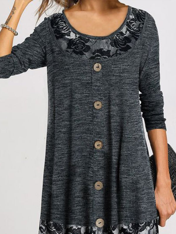 Women Long Sleeve A-Line Buttoned Dresses