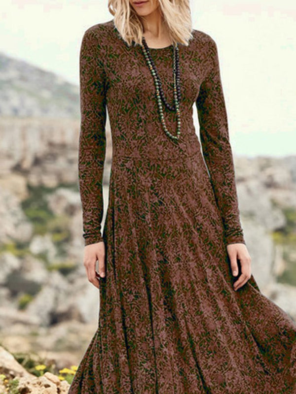 Dark Brown Vintage Jacquard Dresses