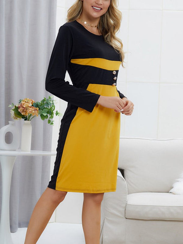 Women's color matching long sleeve slim dress