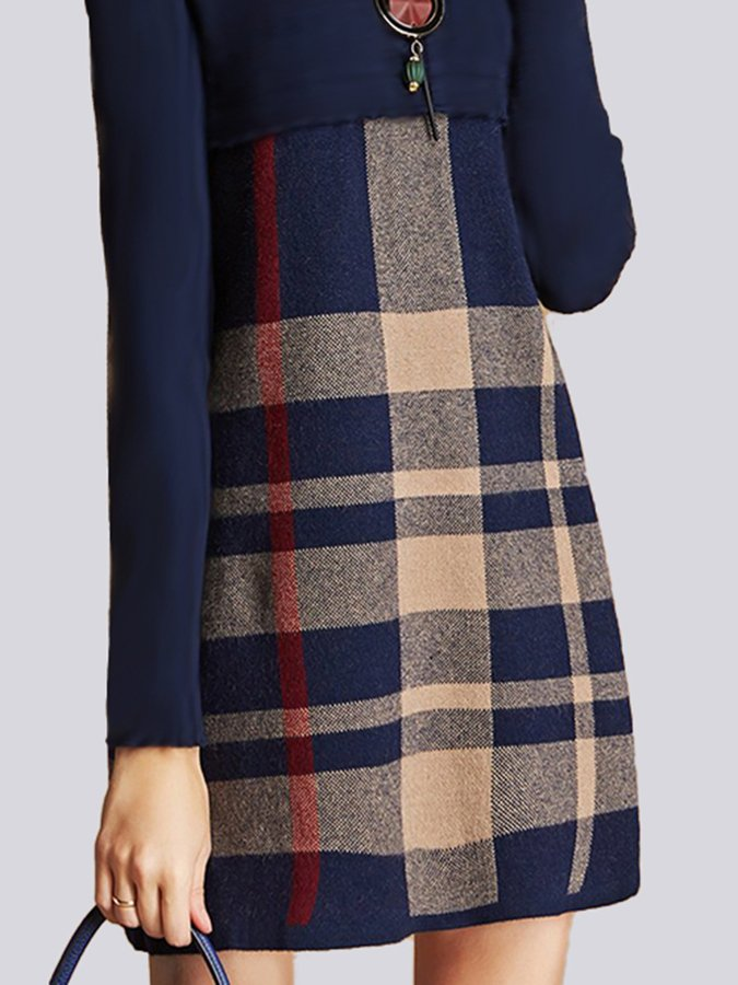 Checkered/plaid Printed Shift Long Sleeve Dress