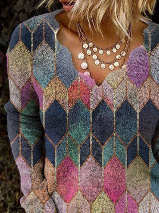 Multicolor V Neck Long Sleeve Geometric Shirts & Tops