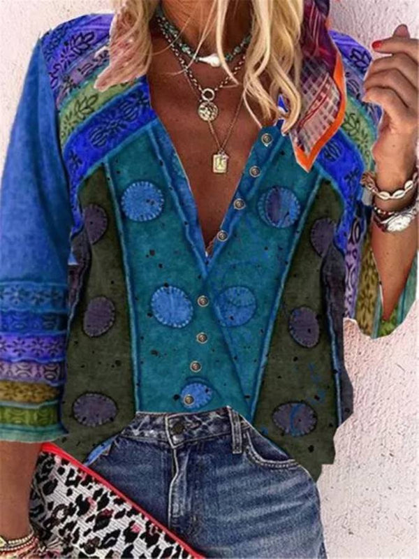 Color Block Casual V-Neckline Long Sleeve Blouses